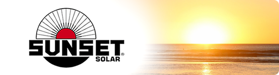 Sunset logo and beach with ocean water and waves.
